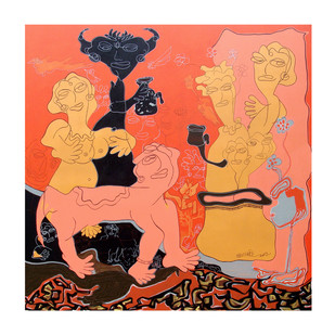 gossip-01 by Satya Dheer Singh, Conceptual Painting, Acrylic & Ink on Canvas,