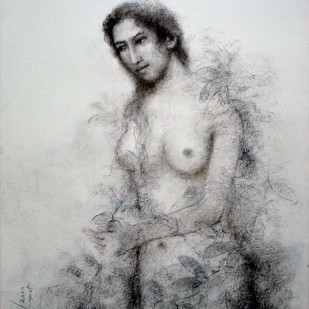 Untitled by Suhas Roy, Expressionism Painting, Charcoal on Canvas, Gray color