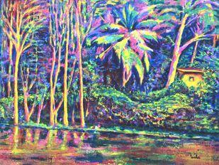 Sankey Tank 1 by Usha Shantharam, Impressionism Painting, Acrylic on Canvas, Green color