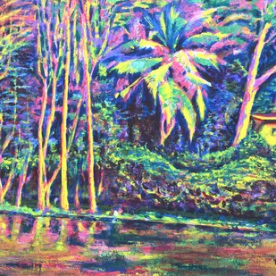 Sankey Tank 1 by Usha Shantharam, Impressionism Painting, Acrylic on Canvas, Green color