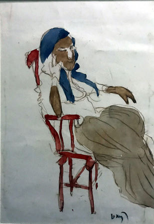 Untitled by K. G. Subramanyan , Expressionism Painting, Watercolor on Paper, Gray color
