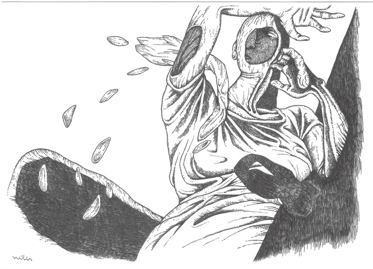 Untitle by Nitin Kushwaha, Illustration Drawing, Ink on Paper,
