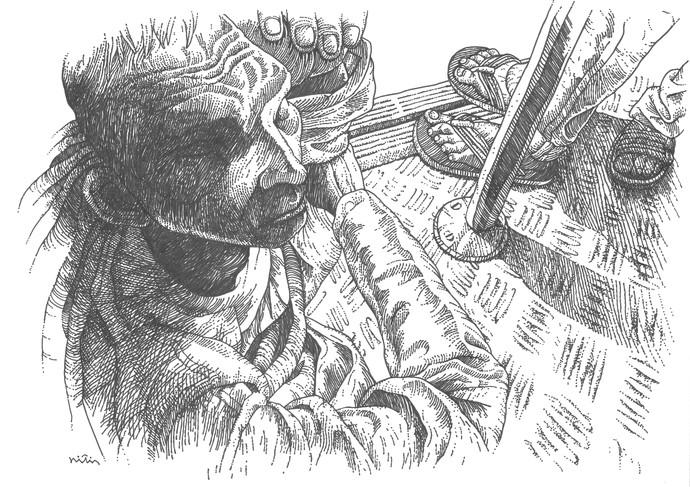 Untitled by Nitin Kushwaha, Illustration Drawing, Ink on Paper,