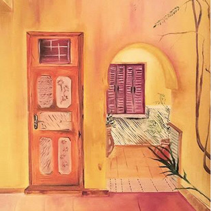 ART X ARCHITECTURE by Ishita Sharma, Impressionism Painting, Oil on Canvas, Beige color