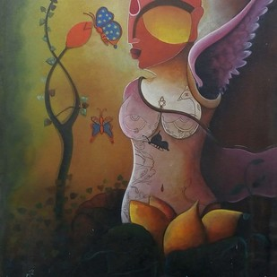 Raving beuaty by anupam pal, Decorative Painting, Acrylic on Canvas, Brown color