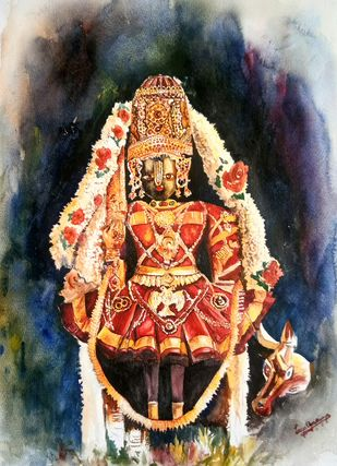 Udupi Shri Krishna by Lasya Upadhyaya, Impressionism Painting, Watercolor on Paper, Brown color