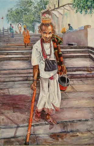 Vagrant in Ganga Ghat by Laasya Upadhyaya, Impressionism Painting, Acrylic on Canvas, Brown color