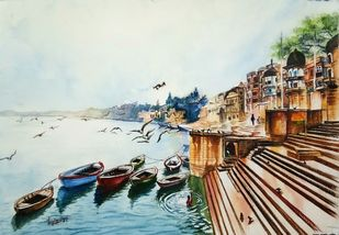Ferries at Ganga Ghat by Laasya Upadhyaya, Expressionism Painting, Watercolor on Paper, Brown color