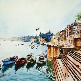 Ferries at Ganga Ghat Digital Print by Lasya Upadhyaya,Expressionism