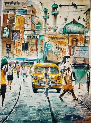 Kolkata Painting by Avanish Trivedi, Impressionism Painting, Watercolor on Paper, Beige color