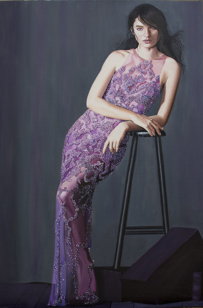Lady in purple dress by vikas, Expressionism Painting, Oil on Canvas, Blue color