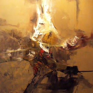 DEEPEST OF TRUTH by Satyabrata Adhikary, Abstract Painting, Acrylic on Canvas, Brown color