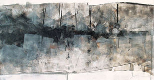 SURVIVAL MODE by Satyabrata Adhikary, Abstract Painting, Acrylic on Canvas, Gray color