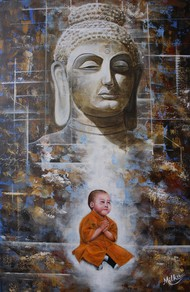 Innocent Enlightenment by SOURAV SAHA, Traditional Painting, Acrylic on Canvas, Gray color