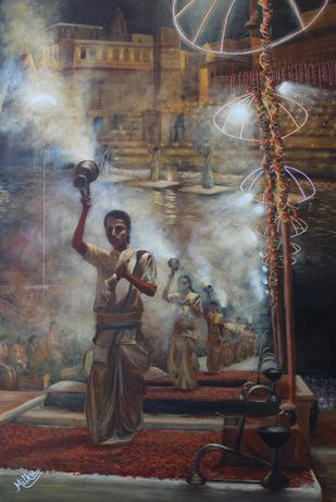 Varanasi - Ashwamedha Ghat by SOURAV SAHA, Realism Painting, Acrylic on Canvas, Brown color