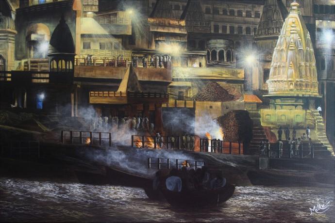 Varanasi - Manikarnika Ghat by SOURAV SAHA, Impressionism Painting, Acrylic on Canvas, Gray color
