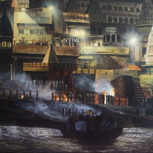 Varanasi - Manikarnika Ghat by SOURAV SAHA, Impressionism Painting, Acrylic on Canvas, Gray color