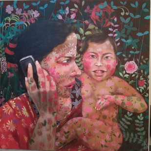 I AM HAPPY WITH MY MOTHER by Anjum Khan, Expressionism Painting, Acrylic on Canvas, Brown color