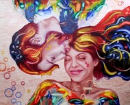Soul mates 16 by Ankur Rana, Expressionism Painting, Oil on Canvas, Brown color