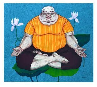 YOGI-1 by Mrinal Dey, Pop Art Painting, Acrylic on Canvas, Cyan color
