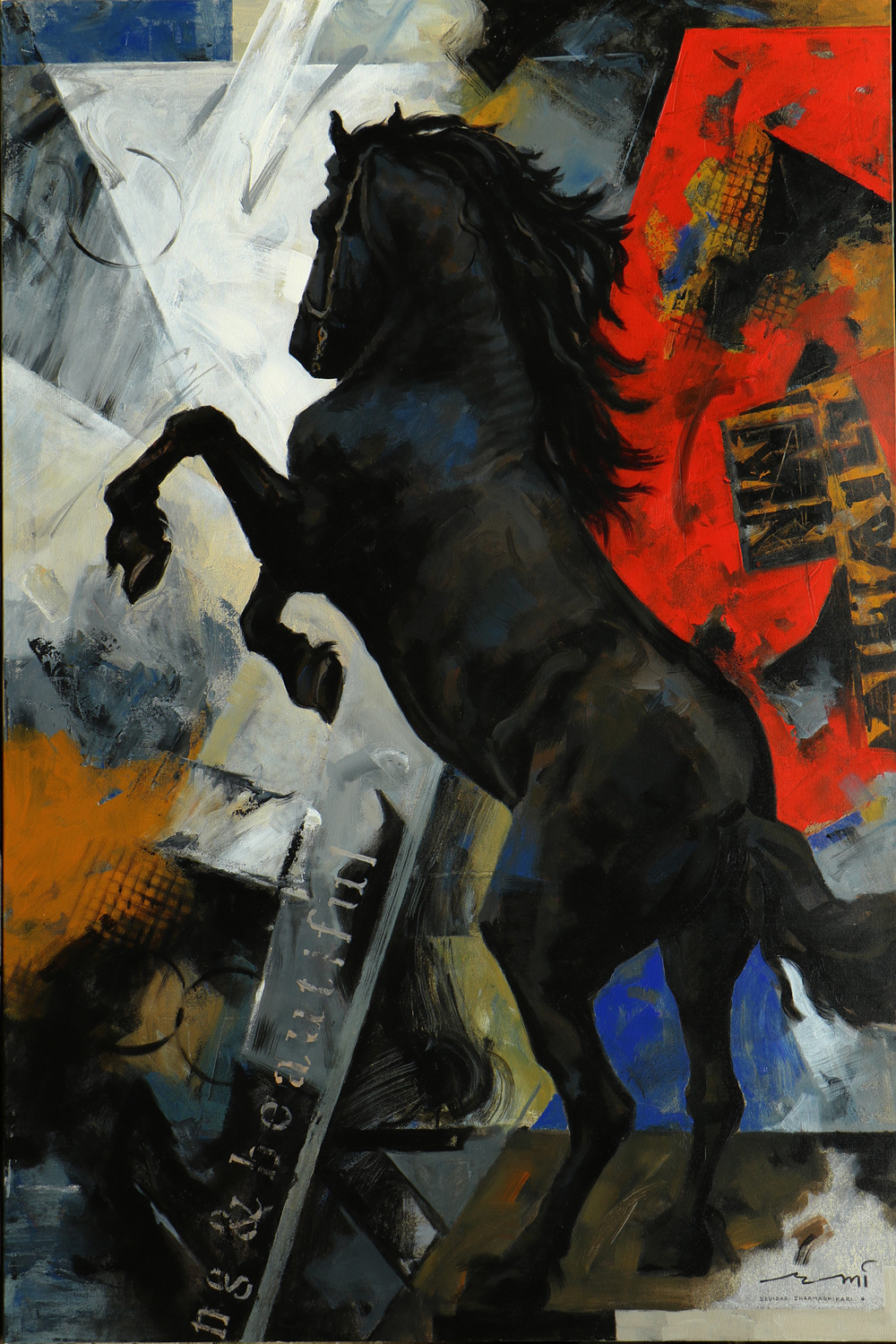 Horse Series -117 by Devidas Dharmadhikari, Expressionism Painting, Acrylic on Canvas, Gray color