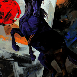 Horse Series -112 by Devidas Dharmadhikari, Expressionism Painting, Acrylic on Canvas, Gray color
