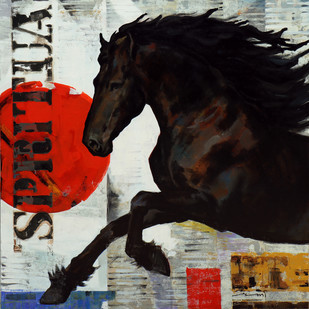 Horse Series -118 by Devidas Dharmadhikari, Expressionism Painting, Acrylic on Canvas, Gray color
