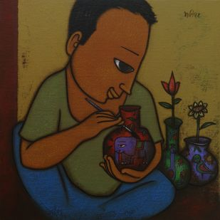 ARTIST by Hitendra Singh Bhati, Expressionism Painting, Acrylic on Canvas, Brown color