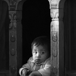 Bhutanese Boy by Shuchi Pandya, Image Photography, Digital Print on Paper, Gray color