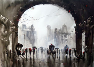 Kolkata by Ashif Hossain, Impressionism Painting, Acrylic on Canvas, Gray color