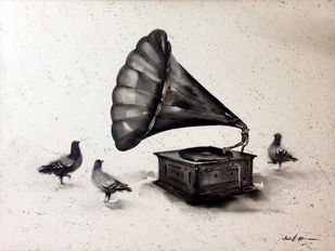 Gramophone by Ashif Hossain, Impressionism Painting, Acrylic on Canvas, Gray color