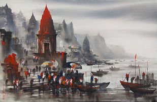 Banaras ghat by Ashif Hossain, Impressionism Painting, Acrylic on Canvas, Gray color