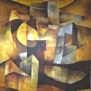 Untitled by Pradip Chaudhuri, Cubism Painting, Acrylic on Canvas, Brown color