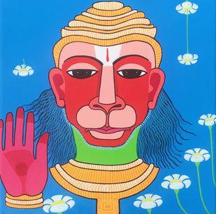 Hanuman by Thota Laxminarayana, Traditional Painting, Acrylic on Canvas, Blue color