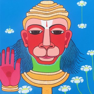 Hanuman by Thota Laxminarayana, Traditional Painting, Acrylic on Canvas, Blue color