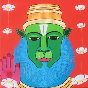Narasimha by Thota Laxminarayana, Traditional Painting, Acrylic on Canvas, Red color