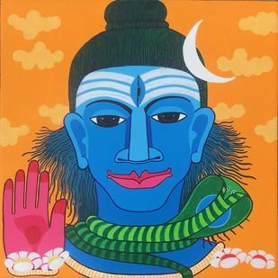 Siva by Thota Laxminarayana, Traditional Painting, Acrylic on Canvas, Orange color