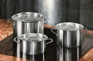 Reflections by SOURAV SAHA, Realism Painting, Acrylic on Canvas, Gray color