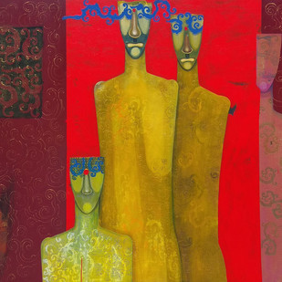 Family by Samar Singh Thakur, Expressionism Painting, Acrylic on Canvas, Brown color