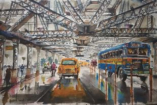 Kolkata Painting- Ode to Howrah Bridge by Avanish Trivedi, Impressionism Painting, Watercolor on Paper, Gray color