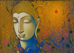 Buddha by Anand Panchal, Expressionism Painting, Acrylic on Canvas, Brown color