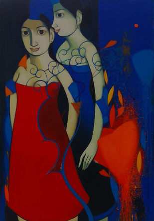 Mother & Daughter by Anand Panchal, Traditional Painting, Acrylic on Canvas, Blue color