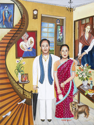 Female Power by Nayanaa Kanodia, Naive Painting, Oil on Canvas, Brown color