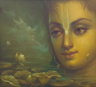 Krishna by Subrata Sen, Realism Painting, Oil on Canvas, Green color