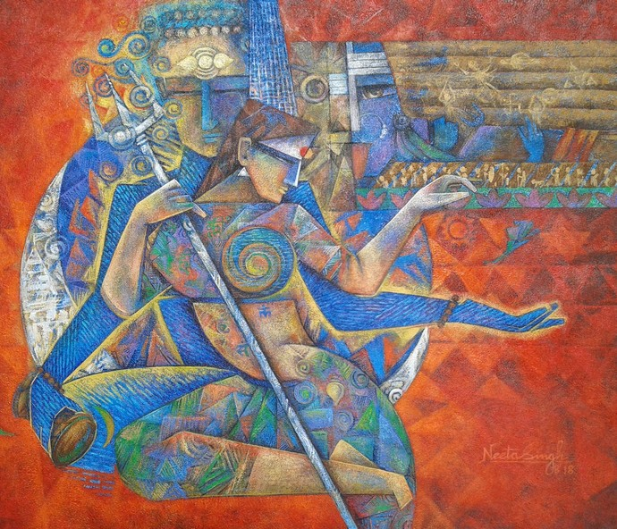 Shiva-Shakti by Neeta Singh, Cubism Painting, Acrylic on Canvas, Brown color