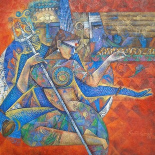 Shiva-Shakti by Neeta Singh, Cubism Painting, Acrylic on Canvas, Brown color