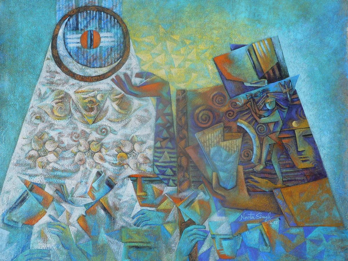Sharanagata-2 by Neeta Singh, Cubism Painting, Acrylic on Canvas, Cyan color