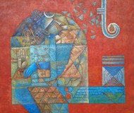 Tatwa by Neeta Singh, Cubism Painting, Acrylic on Canvas, Brown color