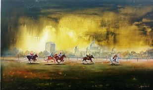 Rainy day in kolkata polo by Arjun das, Impressionism Painting, Acrylic on Canvas, Green color