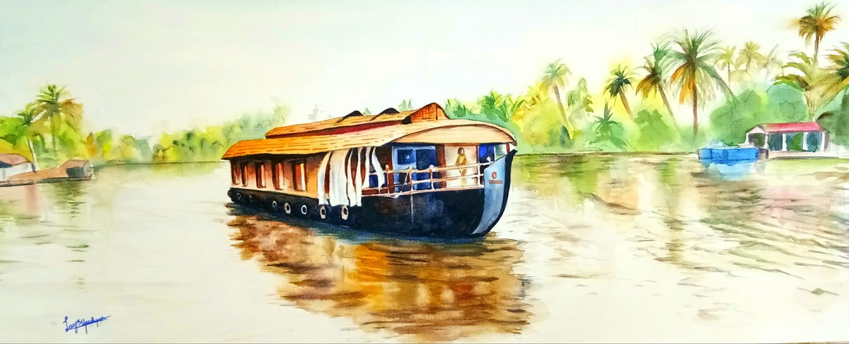 CRUISING THE BACKWATERS by Lasya Upadhyaya, Impressionism Painting, Watercolor on Paper, Beige color